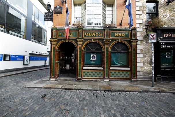 The Quays Bar, in Temple Bar, Dublin city centre: Closed due to COVID-19.