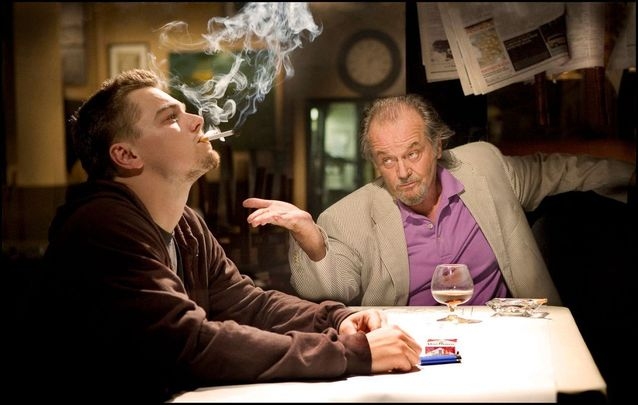 Leonardo Di Caprio and Jack Nicholson in The Departed.