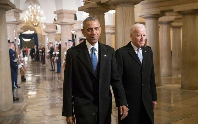 Barack Obama and Joe Biden at Donald Trump\'s inauguration in 2017.