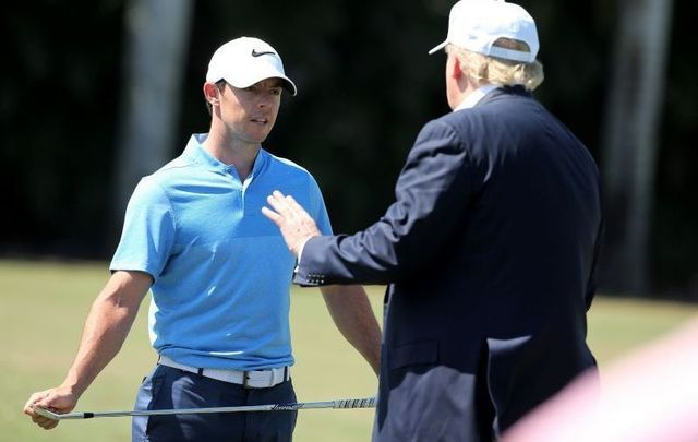 Rory McIlroy and Donald Trump, then still a presidential candidate, in March 2016 at the World Golf Championships-Cadillac Championship at Trump National Doral Blue Monster Course.