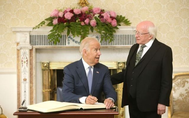 Joe Biden with Irish President Michael D. Higgins during the former vice president\'s 2016 visit to Ireland.