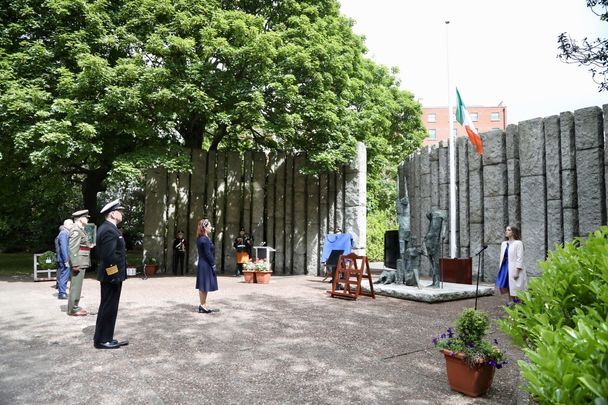 Minister for Culture, Heritage and the Gaeltacht, Josepha Madigan T.D. officiates at the National Famine Commemoration Ceremony in St. Stephen's Green, Dublin, 17 May 2020