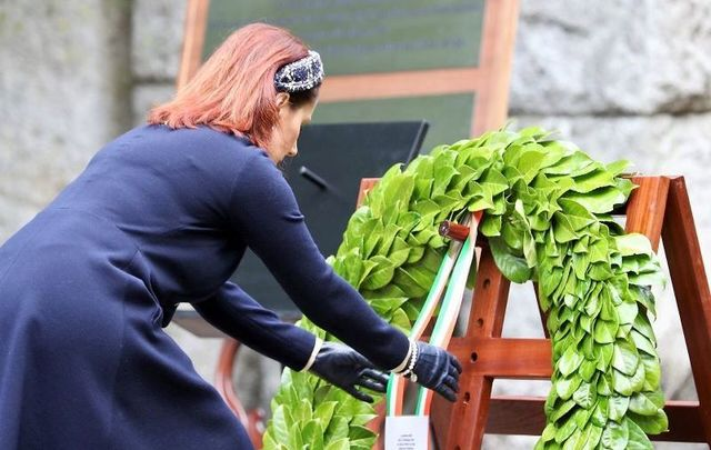 Minister for Culture, Heritage and the Gaeltacht, Josepha Madigan TD officiates at the National Famine Commemoration Ceremony in St. Stephen's Green, Dublin on May 17, 2020.