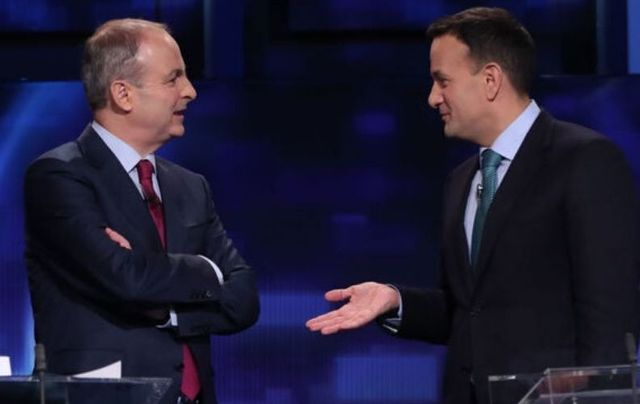 Fianna Fáil leader Michéal Martin with Taoiseach Leo Varadkar during February\'s leader\'s debate.