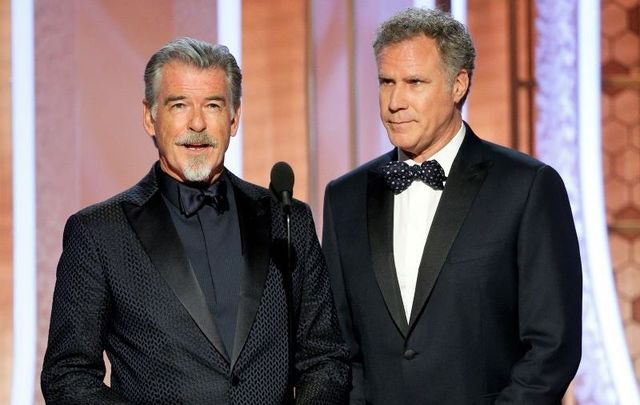 Pierce Brosnan and Will Ferrell presenting at the 77th Annual Golden Globe Awards on January 5, 2020.