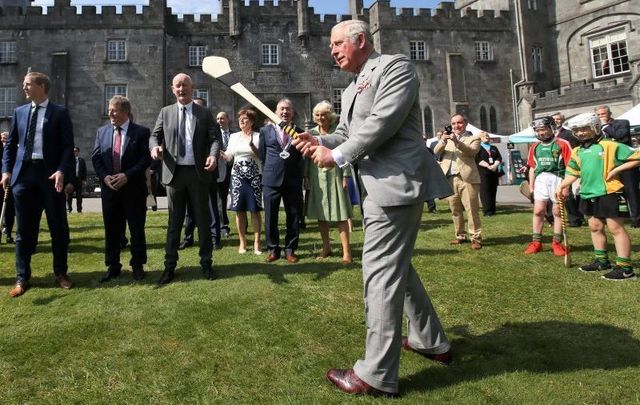 Prince Charles tries his hand at hurling while in Co Kilkenny during his 2017 visit to Ireland.