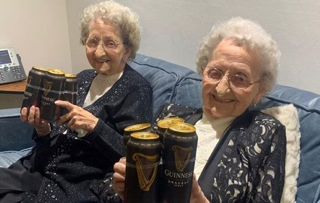 The Tipton Twins claim that drinking Guinness is one of the secrets to a long life.