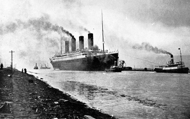 The RMS Titanic during its sea trials on April 2, 1912.