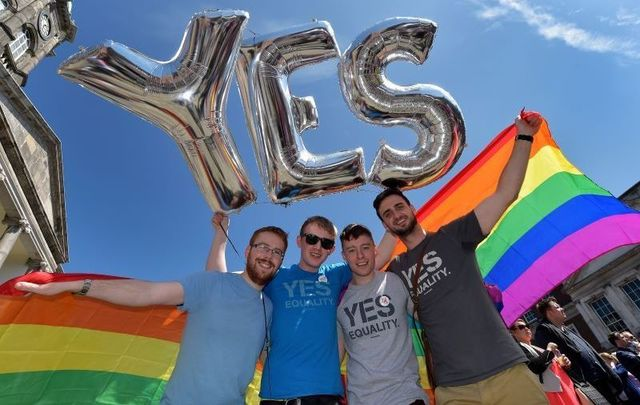 Thousands of people gathered at Dublin Castle on May 23, 2015 to await the results of the country\'s gay marriage referendum.