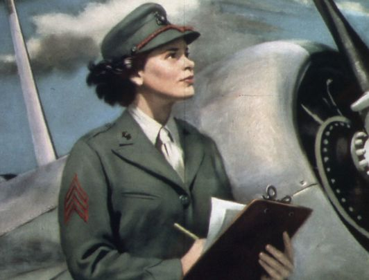 Illustration of a worker from World War II in the US Women's Air Corps.