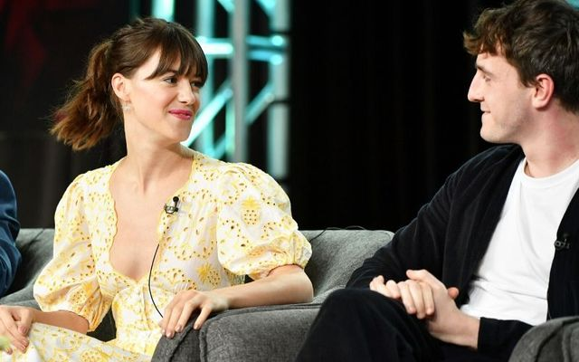 Daisy Edgar-Jones with Normal People co-star Paul Mescal at the Winter PCA Press Tour.