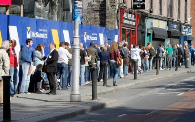 A large queue for social welfare payments in Dublin during Ireland\'s last recession in 2011.