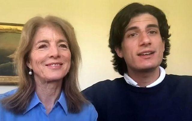 Caroline Kennedy and Jack Schlossberg announcing the COVIDHero award.
