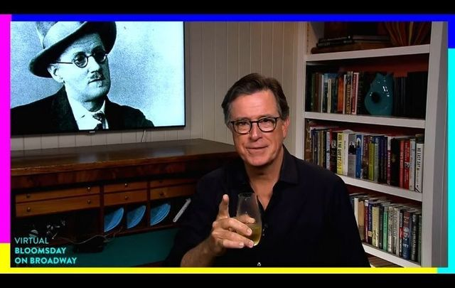 Stephen Colbert introducing the Virtual Bloomsday on Broadway event on Symphony Space\'s YouTube on June 16.