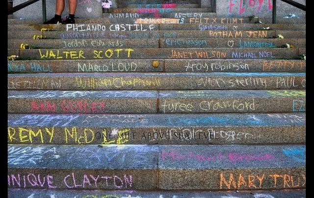 The names of black people killed by police are written in chalk on the steps of the Colorado State Capitol during the fourth consecutive day of protests in the aftermath of the death of George Floyd on May 31, 2020 in Denver, Colorado.