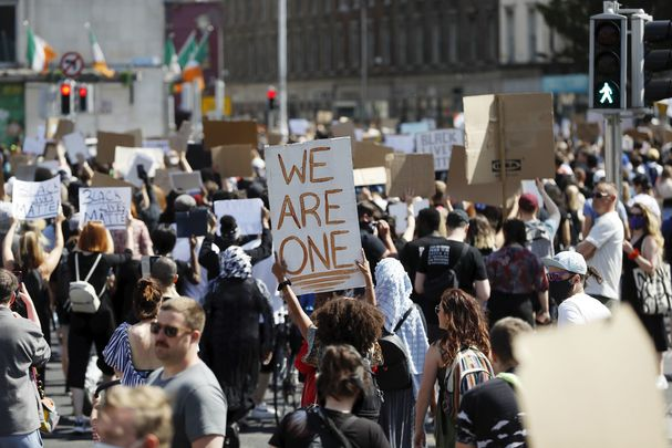 """We are one\"" - Ireland stands in protest with anti-racism demonstrations in Belfast and Dublin."