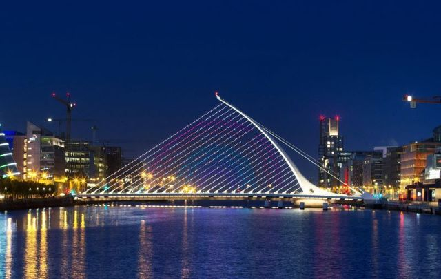 May 21, 2020: The Samuel Beckett Bridge on the River Liffey in Dublin with a projection of a rainbow which has become a symbol of hope and support during the COVID-19 pandemic across the world.