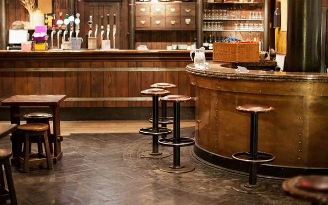 An empty Irish pub.