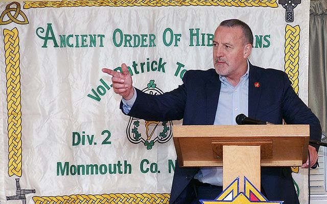 Malachy McAllister speaking at an Ancient Order of the Hibernians event.