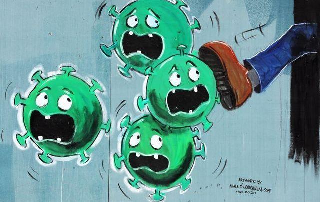 May 15, 2020: A mural by Niall O\'Loughlin on Devitts Pub in Dublin showing Coronavirus.
