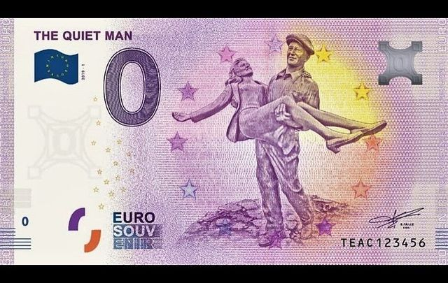 The Quiet Man is being memorialized on a new product from Euro Note Souvenir.