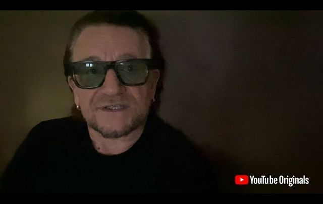 """U2\'s Bono introduced the \""""Beautiful Day (FINNEAS Remix)\"""" with an inspiring message for the Class of 2020 graduates."""