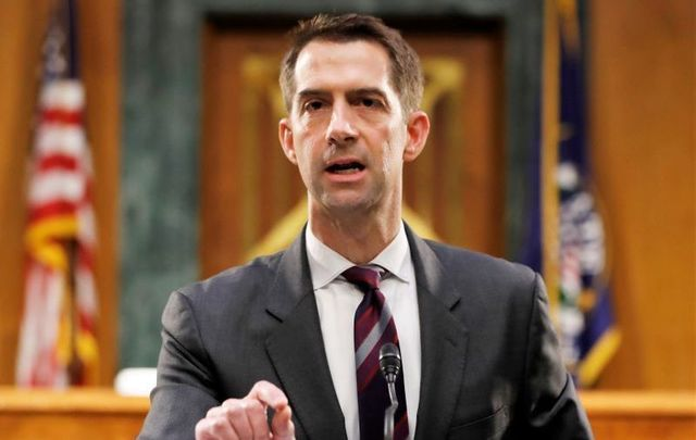 Senator Tom Cotton (R-AR), pictured here at a Senate Intelligence Committee nomination hearing for Rep. John Ratcliffe (R-TX) on Capitol Hill in Washington, Tuesday, May. 5, 2020.