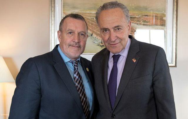 Malachy McAllister and New York Senator Charles \'Chuck\' Schumer.