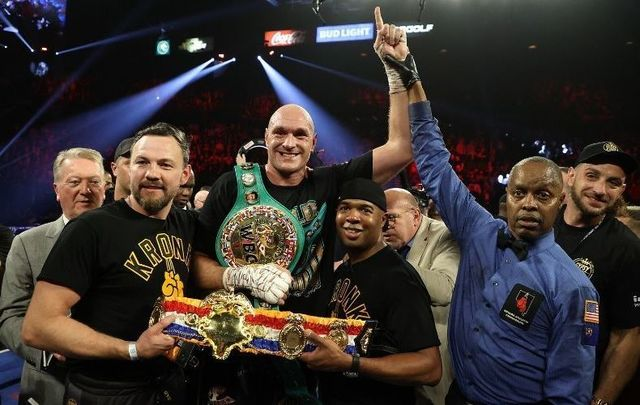 Tyson Fury celebrates his win by TKO in the seventh round against Deontay Wilder in the Heavyweight bout for Wilder\'s WBC and Fury\'s lineal heavyweight title on February 22, 2020 at MGM Grand Garden Arena in Las Vegas, Nevada.