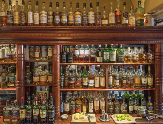L Mulligan Grocer, a bar in Dublin\'s Stoneybatter\'s extensive whiskey collection.