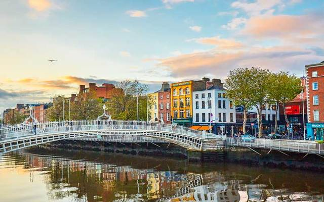 Ha\'penny Bridge in Dublin, Ireland.