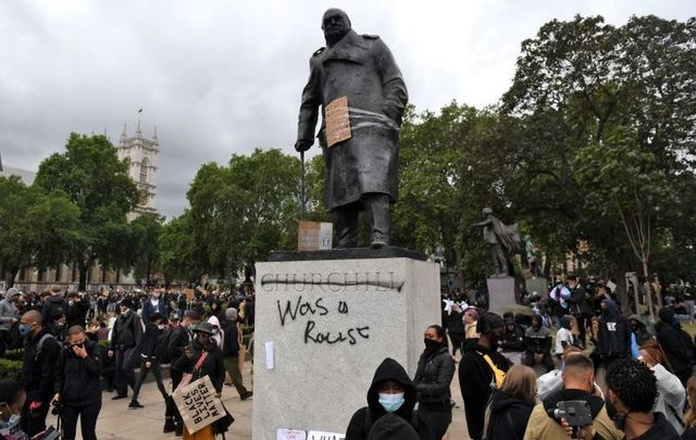 A statue of Winston Churchill in London was defaced during a Black Lives Matter protest on June 7, 2020.