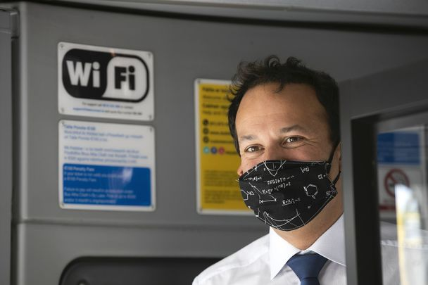Taoiseach Leo Varadkar wearing a face mask, encouraging the public to do the same.