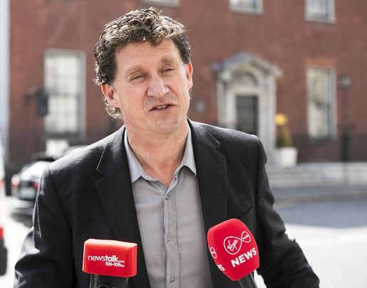 Green Party leader Eamon Ryan speaks to the media outside Government Buildings in Dublin