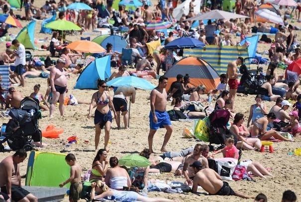 A crowded beach.