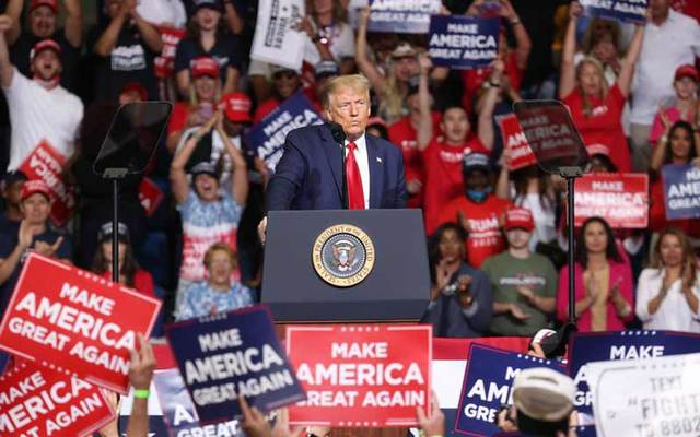 Donald Trump speaks before a crowd at his campaign rally in Tulsa Oklahoma on June 20, 2020.