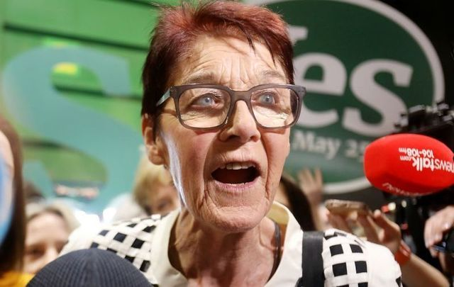 May 26, 2018:  Ailbhe Smyth speaking in the RDS, Dublin, during the counting of votes for Irish referendum to repeal the 8th Amendment.