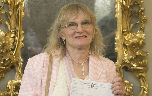 September 25, 2015: Dr. Lydia Foy, who was being honored by the European Parliament with the European Citizens Prize.