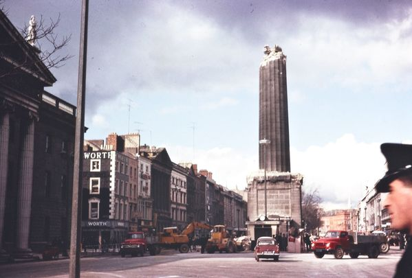 The half-demolished Nelson\'s Pillar, on Dublin\'s O\'Connell Street, following its bombing.