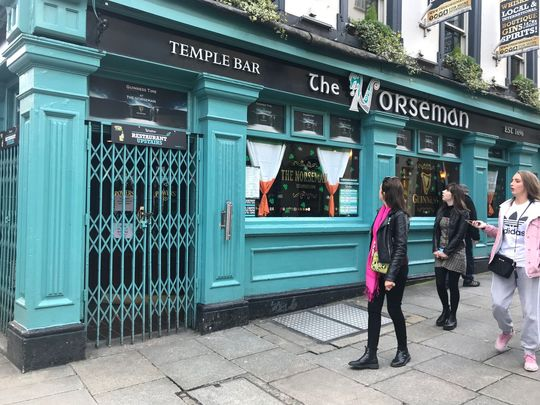 The Norseman pub, in Temple Bar Dublin, during the COVID-19 lockdown.