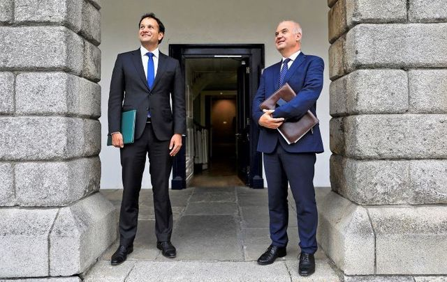Taoiseach Leo Varadkar and Ireland\'s Chief Medical Officer Dr. Tony Holohan after announcing that Phase 3 could be enacted on Monday, June 29.