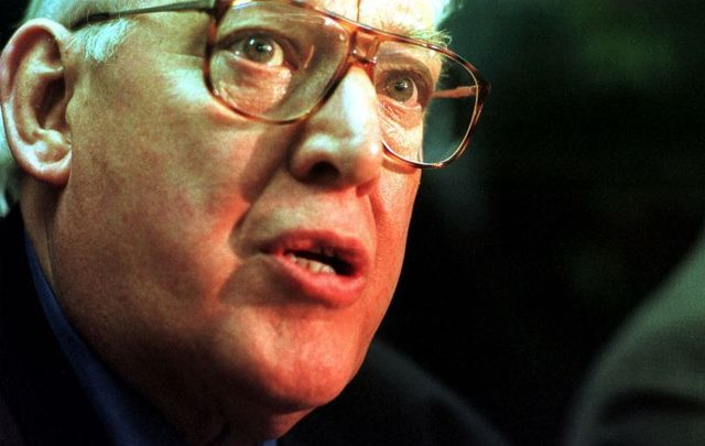 April 10, 1998: Ian Paisley, leader of the Democratic Unionist Party, in an angry mood at a late-night press conference in Castle Buildings Belfast, suspecting that an agreement was on the cards. The agreement was reached later that day, Good Friday, after all-night negotiations.