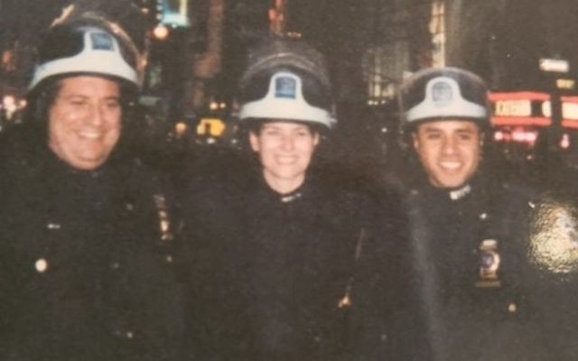 Patricia O\'Connor, center, on active duty with the NYPD.