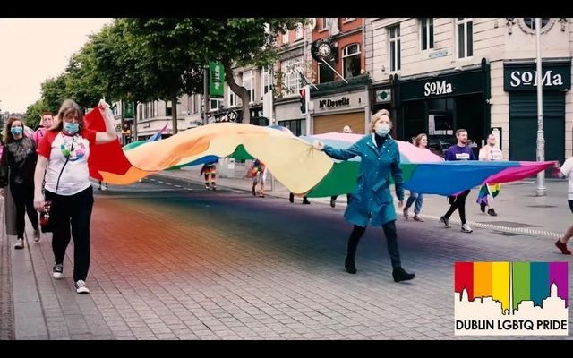 Some members of the LGBTQ community carried the Pride flag down Dublin\'s O\'Connell Street on June 27.
