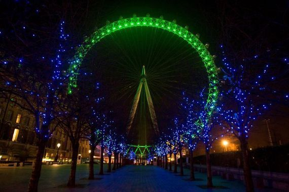 The London Eye turns green for St. Patrick\'s Day.