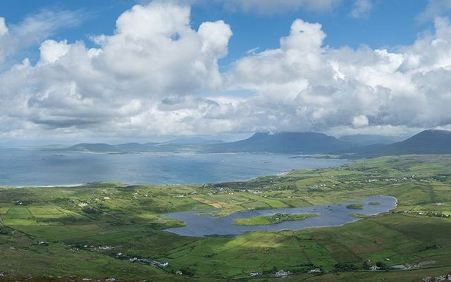 Views from Tully Mountain, in Connemara, County Galway.