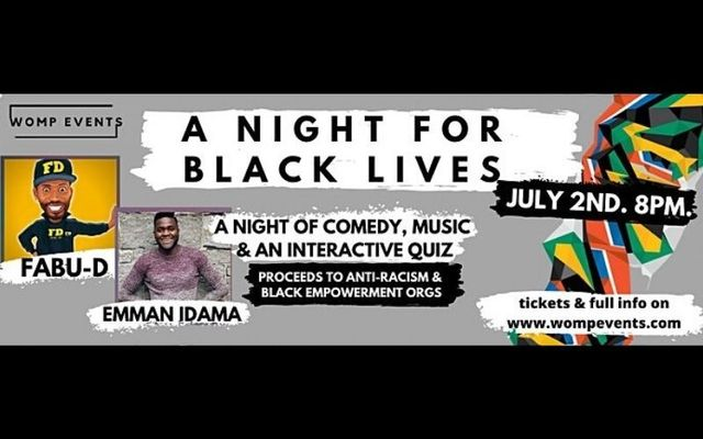 "Emman Idama, a Nigerian comedian based in Ireland, is one of the hosts for ""A Night for Black Lives\"""
