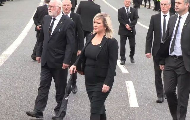 Northern Ireland\'s Deputy First Minister Michelle O\'Neill at the funeral for Bobby Storey on June 30 in west Belfast.