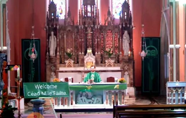 "Fr Tobin from Co Kilkenny is going viral after playing the Liverpool anthem ""You\'ll Never Walk Alone\"" at the close of his Mass."