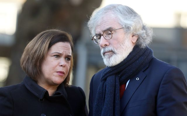 Leader of Sinn Fein Mary Lou McDonald and former President of the party Gerry Adams.